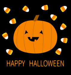 Happy halloween candy corn pumpkin with face cute vector