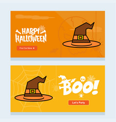 happy halloween invitation design with hat vector image