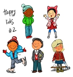 Happy Kids - part 2 Winter edition vector image