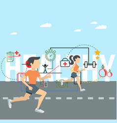 healthy running man and woman concept image vector image