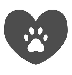 Heart with dog paw solid icon heart and paw print vector