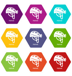 helmet icons set 9 vector image
