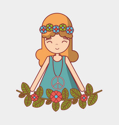 Hippie woman peace and love vector