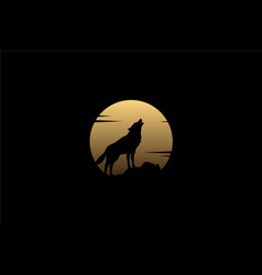 howling wolf silhouette on rock golden moon logo vector image