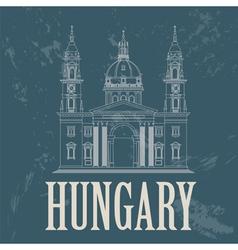 Hungary landmarks Retro styled image vector image