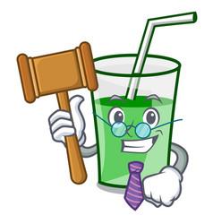 Judge green smoothie mascot cartoon vector