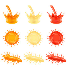 juice splashes 3d photo realistic set vector image