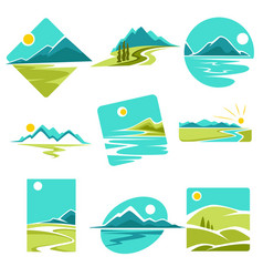 landscape isolated icons corporate identity vector image