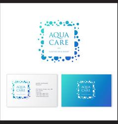logo aqua care spa emblem mineral natural cosmetic vector image