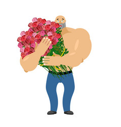 man and big bouquet of roses guy congratulates vector image