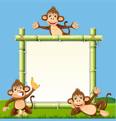 monkey on the bamboo board vector image