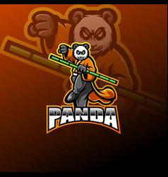 Panda esport mascot logo design vector