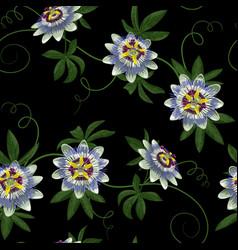 passiflora seamless pattern vector image