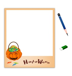 Pencil with Jack O Lantern Picture Frame vector image