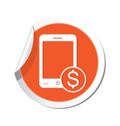 phone cost icon orange sticker vector image