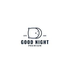Pillow and crescent night sleep line logo design vector