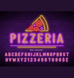 Pizzeria neon light alphabet extra glowing font vector