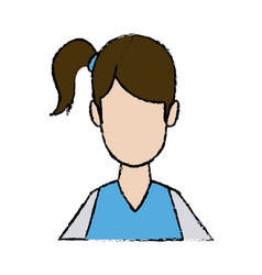 portrait young female cartoon hair style vector image