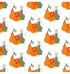 pumpkin seeds oil seamless pattern vector image
