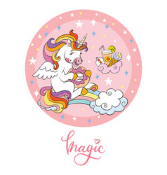 Rainbow cartoon unicorn pink circle vector