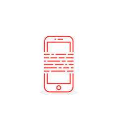red thin line phone like ebook or messaging vector image