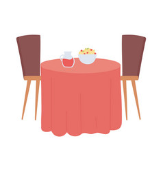 Restaurant table with food and drink isolated vector