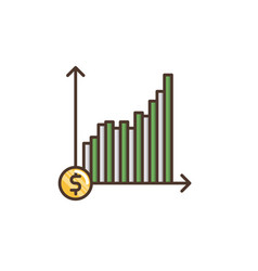 Return on investment filled outline icon vector