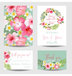 Save the Date Card - Tropical Flowers for Weddings vector