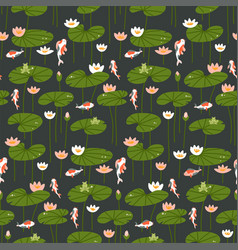 seamless pattern with carp and lotus on a dark vector image