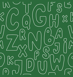 Seamless pattern with letters on green background vector