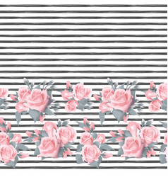 Seamless pattern with pink roses border on white vector