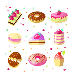 set cute cartoon sweet cakes and donuts vector image