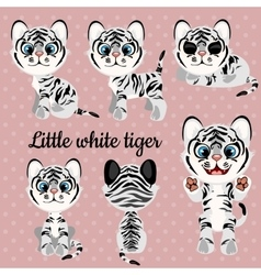 Set of emotions a little white tiger vector image