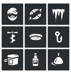 Set of Winter fishing Icons Fisherman vector image