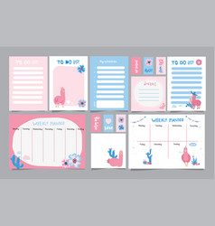 set planners and to do lists with simple vector image