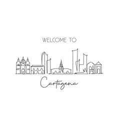 Single continuous line drawing cartagena vector