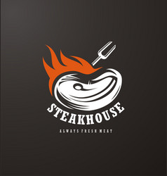Steak house logo design vector