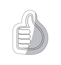 Sticker grayscale contour with 3d hand with signal vector