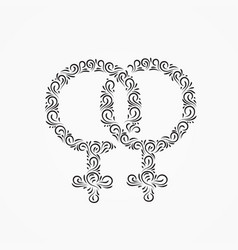 Two gender symbols of venus for women from vector
