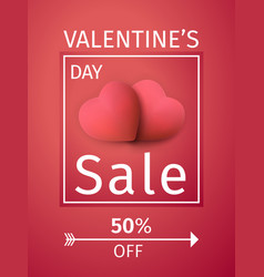 valentines day sale background with 3d red hearts vector image