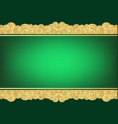vintage green and gold card vector image