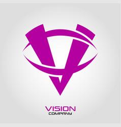 vision logo letter v vector image