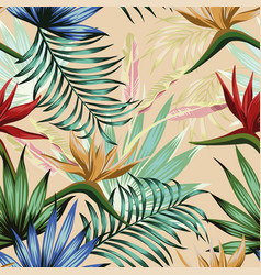 vivid tropical jungle seamless beige background vector image