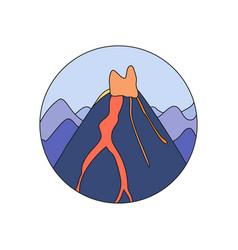 volcano doodle icon vector image