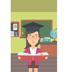 Woman in graduation cap holding book vector