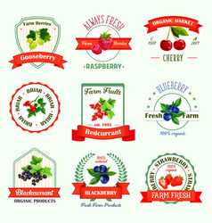 berries icons for berry product labels vector image vector image