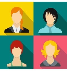 Girl banners set flat style vector image vector image