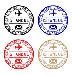 Istanbul mail stamps colored set of round impress vector