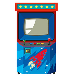Arcade game machine with space theme vector image vector image