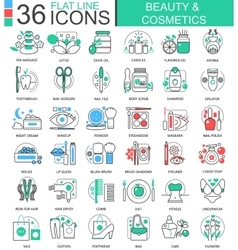 Beauty cosmetics flat line outline icons vector image vector image